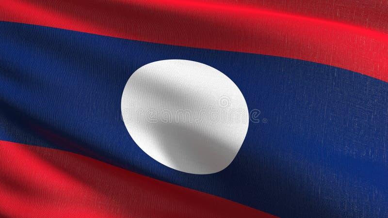 Laos flagi państowowej dmuchanie w wiatrze odizolowywającym Oficjalny patriotyczny abstrakcjonistyczny projekt 3D renderingu ilus ilustracja wektor