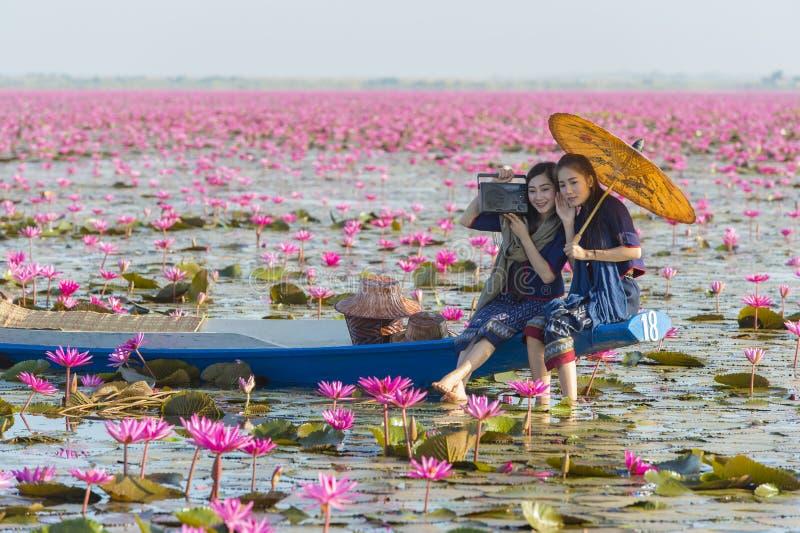 Laos-Frauen im Blumenlotossee, Frau, die traditionelle thailändische Leute, rote Lotus Sea UdonThani Thailand trägt lizenzfreies stockfoto