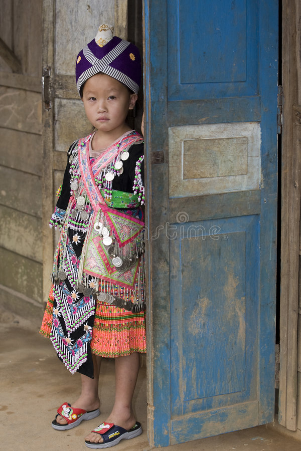 Laos Hmong girl. In traditional clothes in the surroundings of Luang Prabang royalty free stock photography