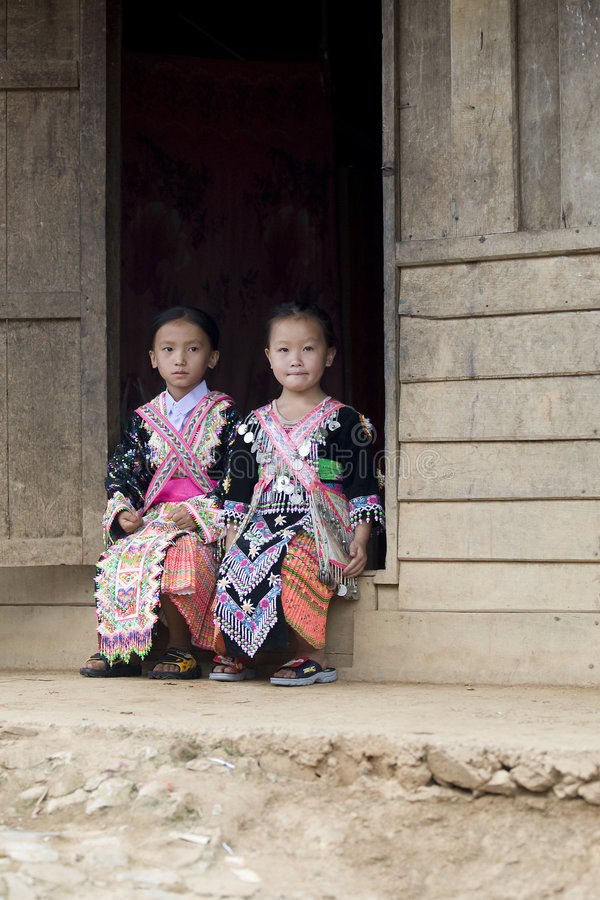 Laos Hmong girl. In traditional clothes in the surroundings of Luang Prabang royalty free stock photo