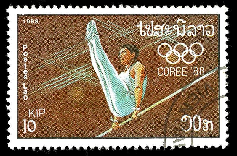 Laos 1988, Juegos Olímpicos - Seul, Corea imagen de archivo