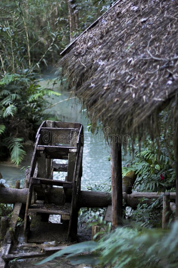Laos, Luang Prabang, Waterrad royalty-vrije stock foto's