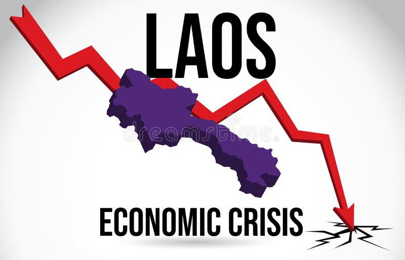 Laos Map Financial Crisis Economic Collapse Market Crash Global Meltdown Vector. Illustration stock illustration