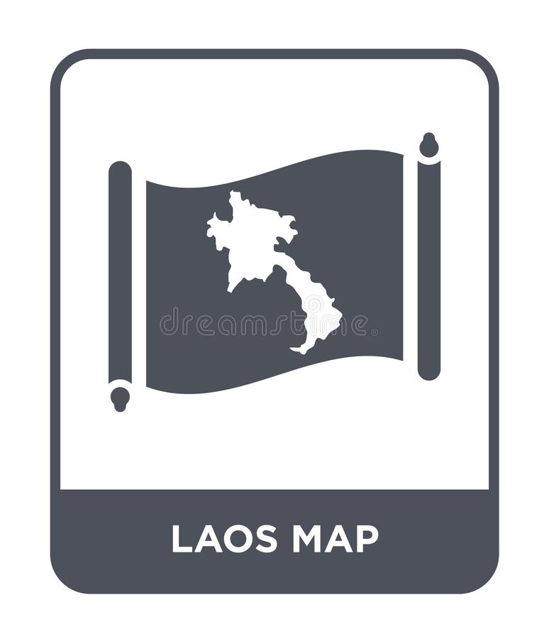 Laos map icon in trendy design style. laos map icon isolated on white background. laos map vector icon simple and modern flat. Symbol for web site, mobile, logo stock illustration