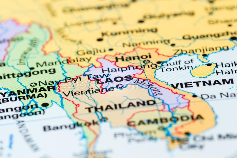 Laos on a map stock photo. Image of name, macro, colors ...