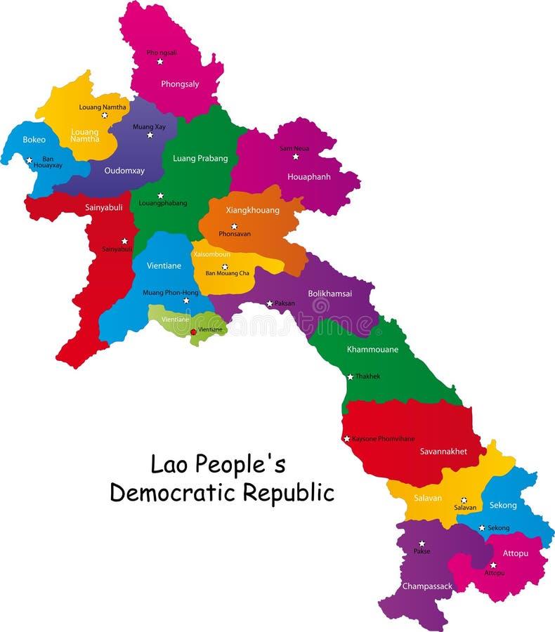 laos mapa ilustracji