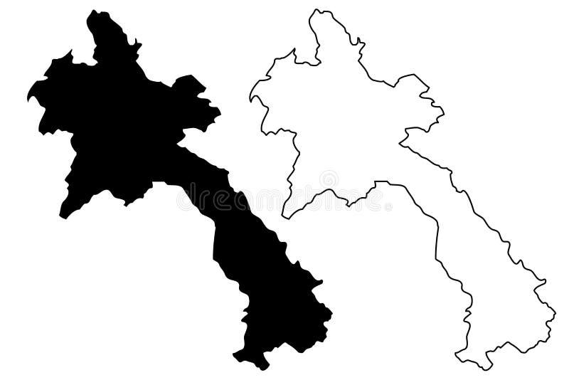 Laos mapy wektor royalty ilustracja