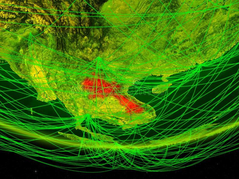Laos op groen model van aarde met netwerk die digitaal tijdperk, reis en mededeling vertegenwoordigen 3D Illustratie Elementen va royalty-vrije stock afbeelding