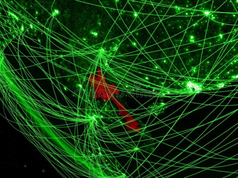 Laos op groene aarde van ruimte met netwerk Concept internationale mededeling, technologie en reis 3D Illustratie stock illustratie
