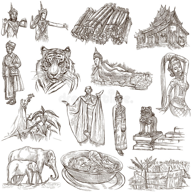 Laos. Pictures of Life. Freehands on white. royalty free illustration