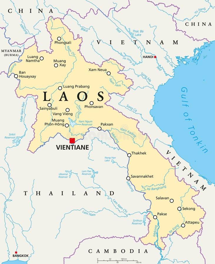 Laos politisk översikt stock illustrationer