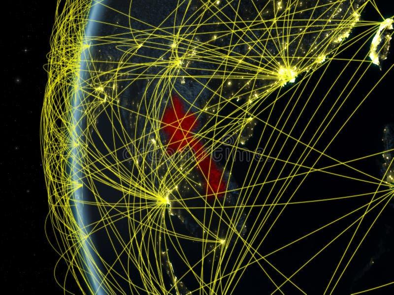 Laos van ruimte met netwerk stock afbeeldingen