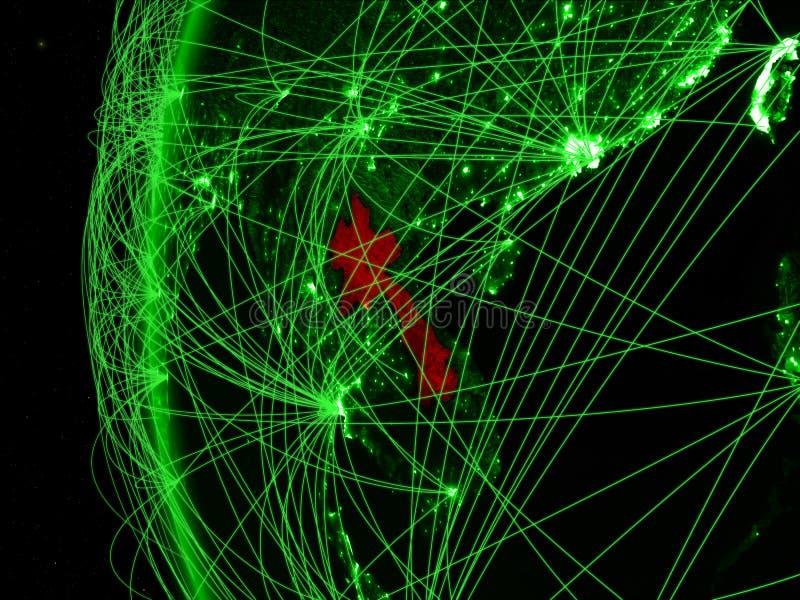 Laos van ruimte op groen model van Aarde met internationale netwerken Concept groene mededeling of reis 3D Illustratie stock illustratie