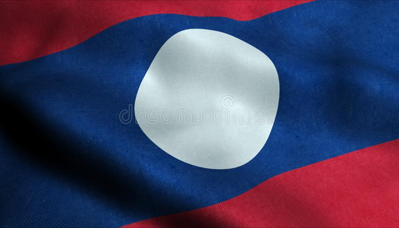 Laos vinkande flagga i 3D stock illustrationer