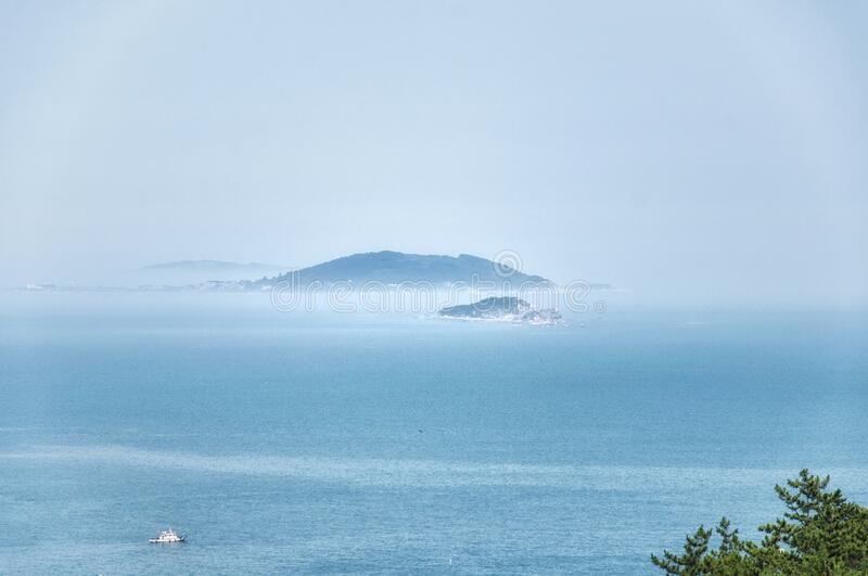 Laoshan and East china sea Landscape Qingdao China day stock photo