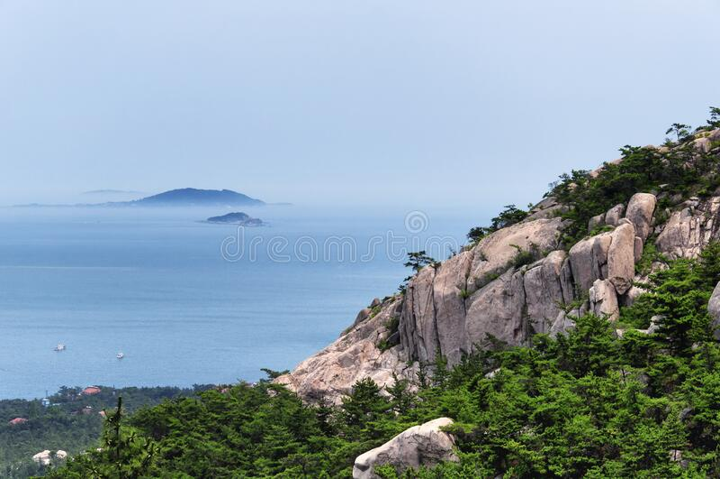 Laoshan and East china sea Landscape Qingdao China day stock images
