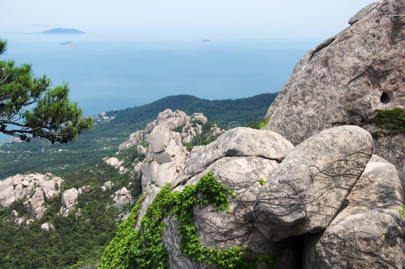 Laoshan and East china sea Landscape Qingdao China day royalty free stock images