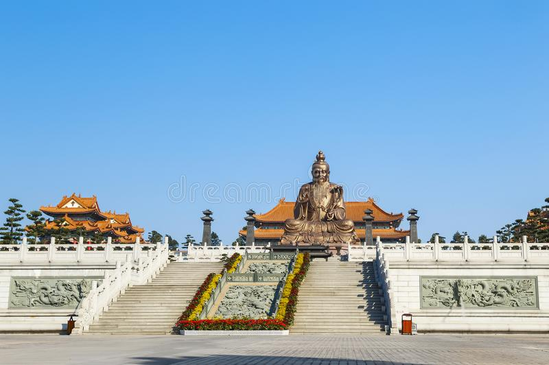 Laozi statua w yuanxuan taoist świątynny Guangzhou, Guangdong obraz stock