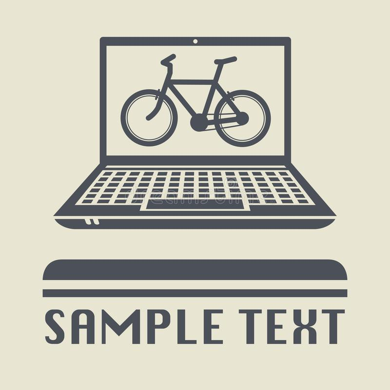 Lap-top ή φορητός υπολογιστής με το εικονίδιο ή το σημάδι ποδηλάτων διανυσματική απεικόνιση