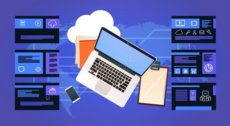Lap-top γραφείων γραφείων πέρα από το υπολογιστικό κέντρο προστασίας δεδομένων με infographic, το δίκτυο και τη βάση δεδομένων, κ διανυσματική απεικόνιση