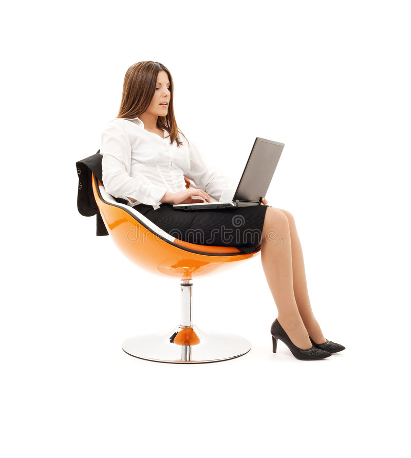 lap-top εδρών επιχειρηματιών στοκ εικόνες