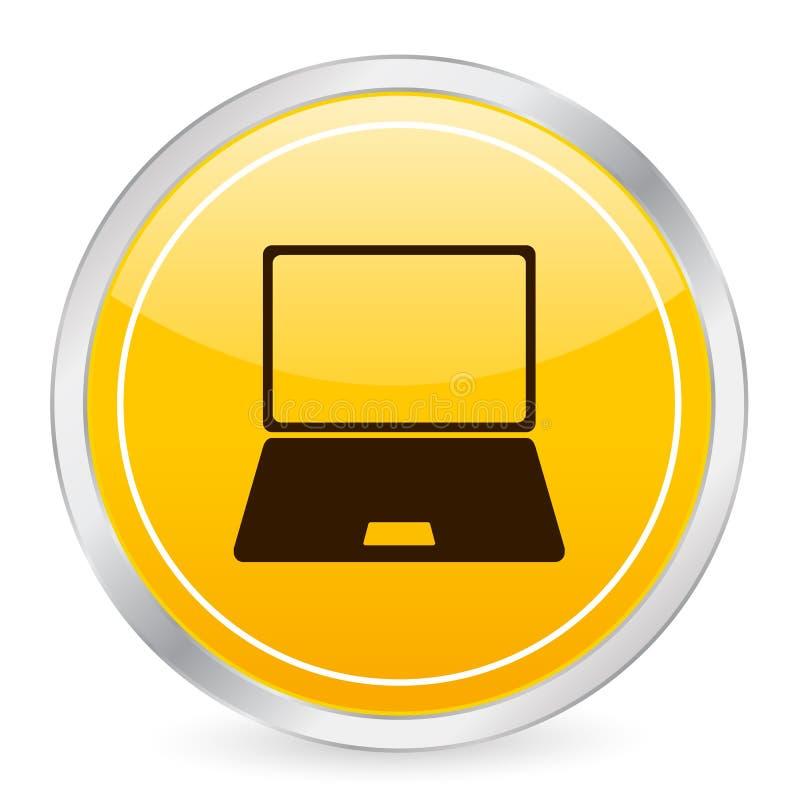 lap-top εικονιδίων κύκλων κίτρι&n ελεύθερη απεικόνιση δικαιώματος