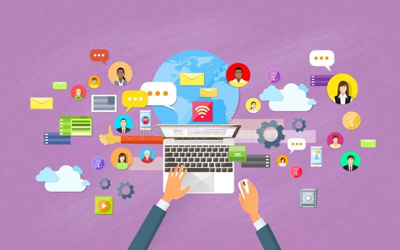 Lap-top ικανοποιημένη επικοινωνία δικτύων ιστοχώρου κοινωνική ελεύθερη απεικόνιση δικαιώματος