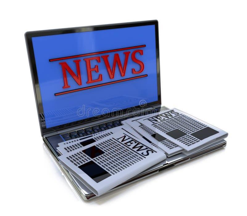 Lap-top και ειδήσεις ελεύθερη απεικόνιση δικαιώματος