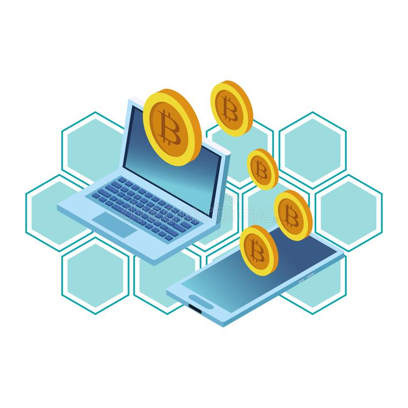 Lap-top και κινητό τηλέφωνο με το cryptocurrency ελεύθερη απεικόνιση δικαιώματος