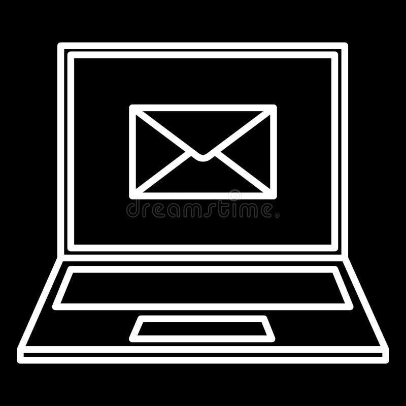 Lap-top και μια άσπρη απεικόνιση περιγράμματος εικονιδίων φακέλων απεικόνιση αποθεμάτων