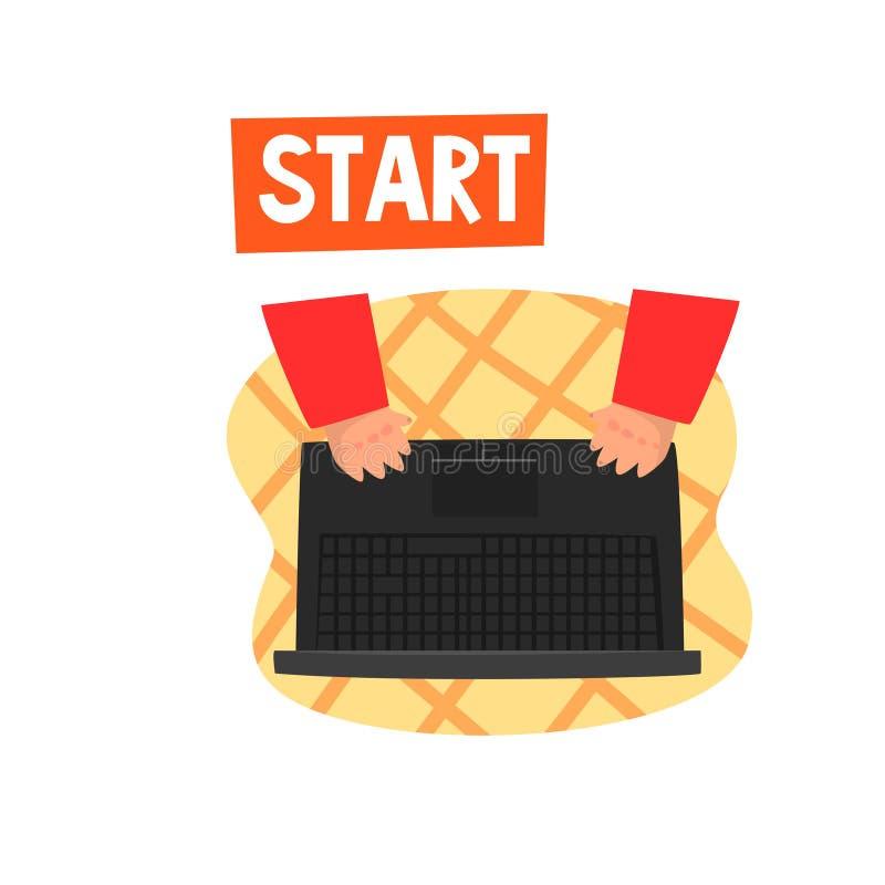 Lap-top και χέρια στο πληκτρολόγιο, ηλεκτρονικό εμπόριο, διανυσματική απεικόνιση προγράμματος ίδρυσης επιχείρησης σε ένα άσπρο υπ διανυσματική απεικόνιση