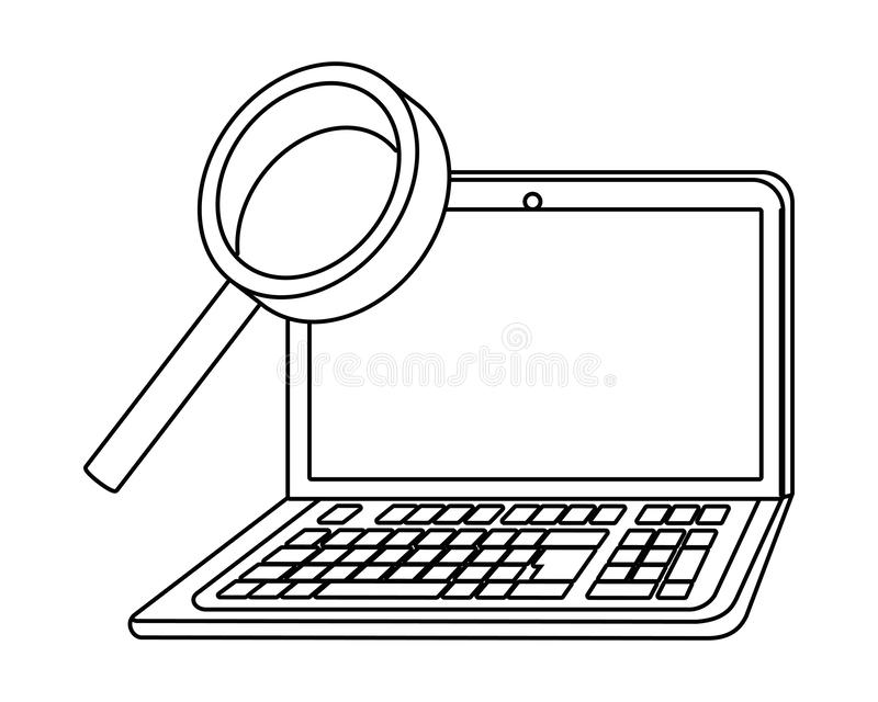 Lap-top και lupe σχέδιο ελεύθερη απεικόνιση δικαιώματος