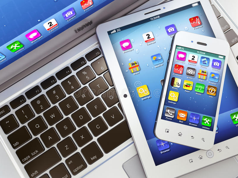 Lap-top, κινητό τηλέφωνο και ψηφιακό PC ταμπλετών ελεύθερη απεικόνιση δικαιώματος