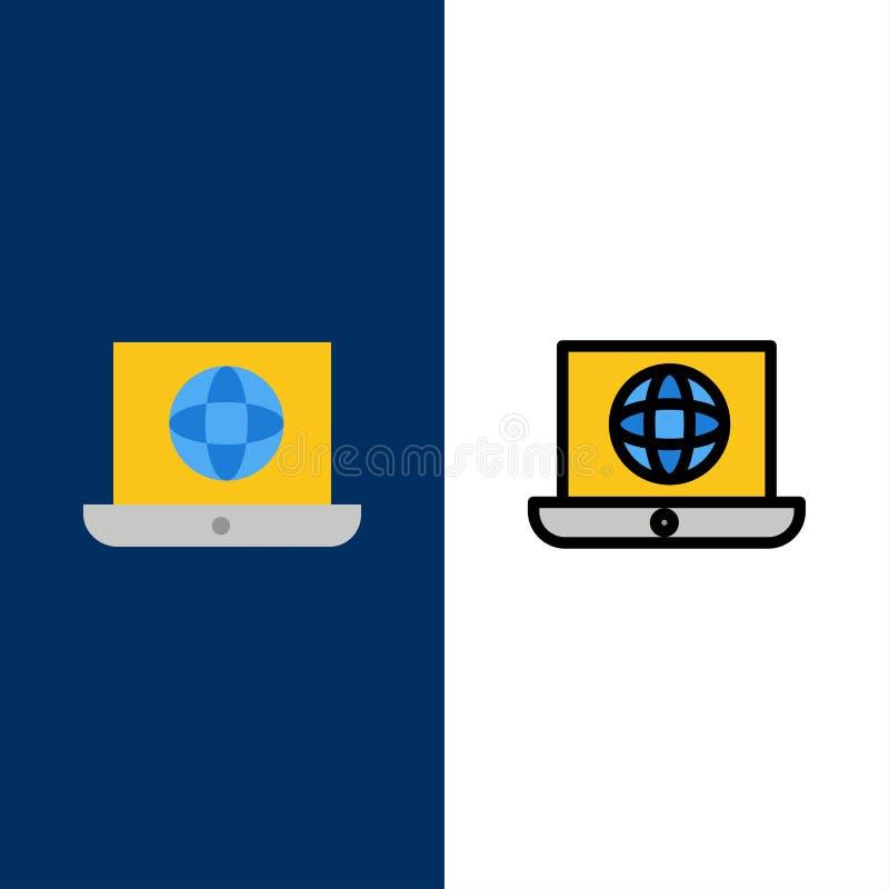 Lap-top, κόσμος, σφαίρα, τεχνικά εικονίδια Επίπεδος και γραμμή γέμισε το καθορισμένο διανυσματικό μπλε υπόβαθρο εικονιδίων διανυσματική απεικόνιση