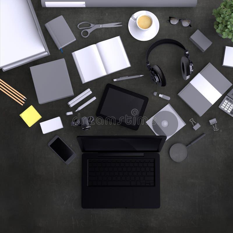 Lap-top με τα κενά αντικείμενα γραφείων ποικιλίας που οργανώνονται για την παρουσίαση επιχείρησης ή την ταυτότητα μαρκαρίσματος μ ελεύθερη απεικόνιση δικαιώματος