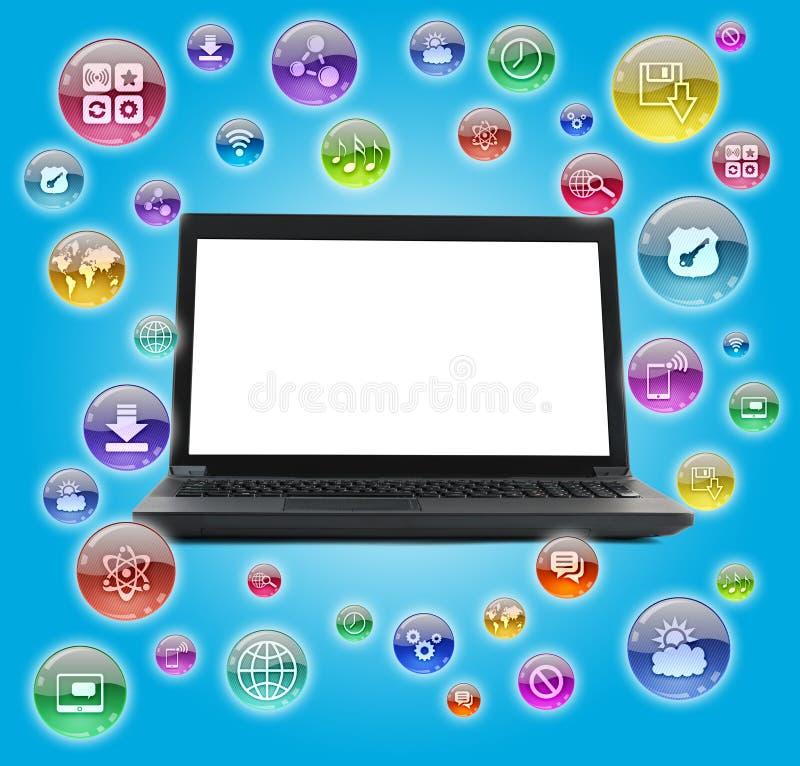Lap-top με τα κενά εικονίδια οθόνης και υπολογιστών διανυσματική απεικόνιση