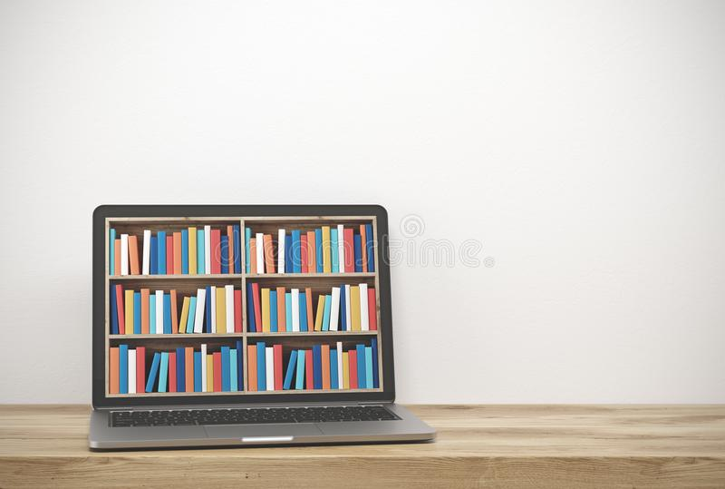Lap-top με τα ράφια στην οθόνη, ξύλινο γραφείο απεικόνιση αποθεμάτων