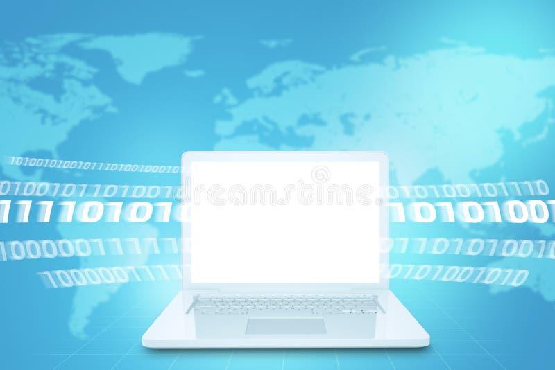 Lap-top με την κενή οθόνη και τους αριθμούς απεικόνιση αποθεμάτων