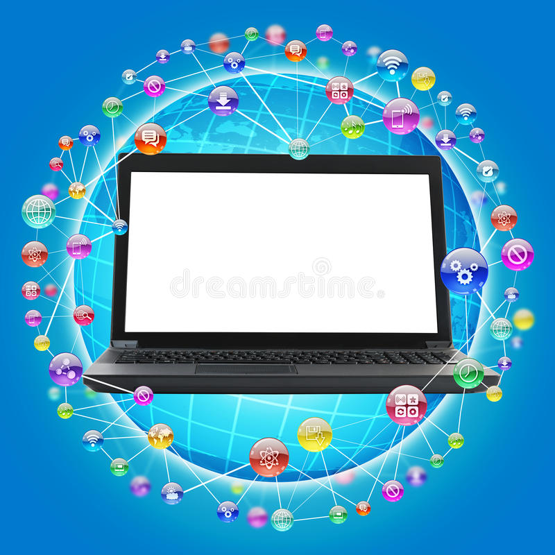 Lap-top με την κενή οθόνη στο μπλε απεικόνιση αποθεμάτων