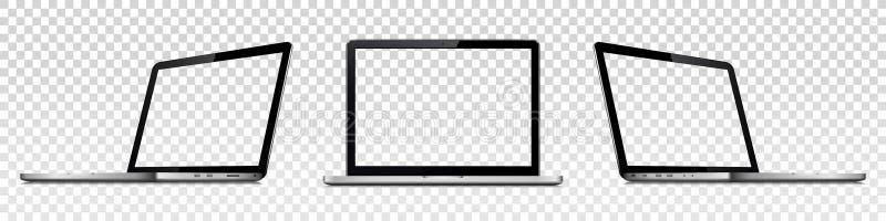 Lap-top με τη διαφανή οθόνη που απομονώνεται στο διαφανές υπόβαθρο Προοπτική και μπροστινή άποψη με την κενή οθόνη ελεύθερη απεικόνιση δικαιώματος