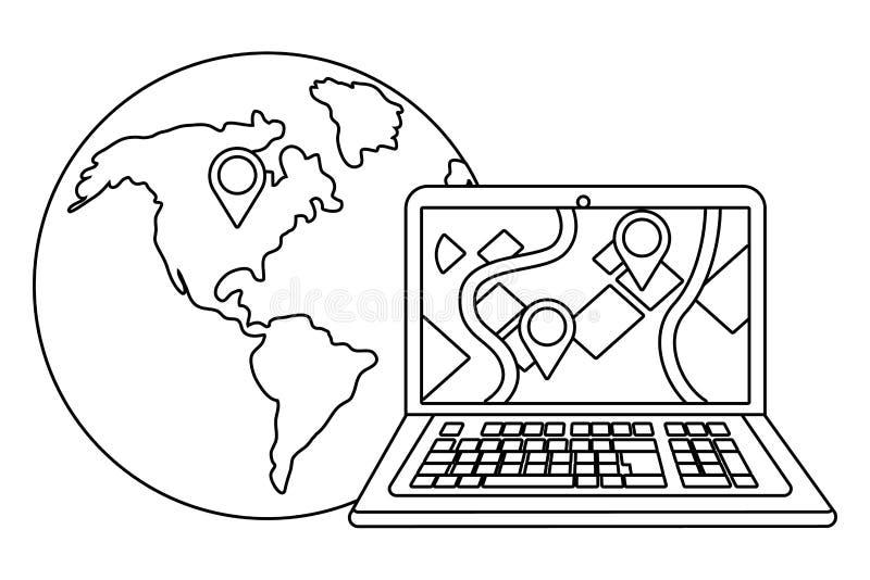 Lap-top με τη σφαίρα σε γραπτό διανυσματική απεικόνιση