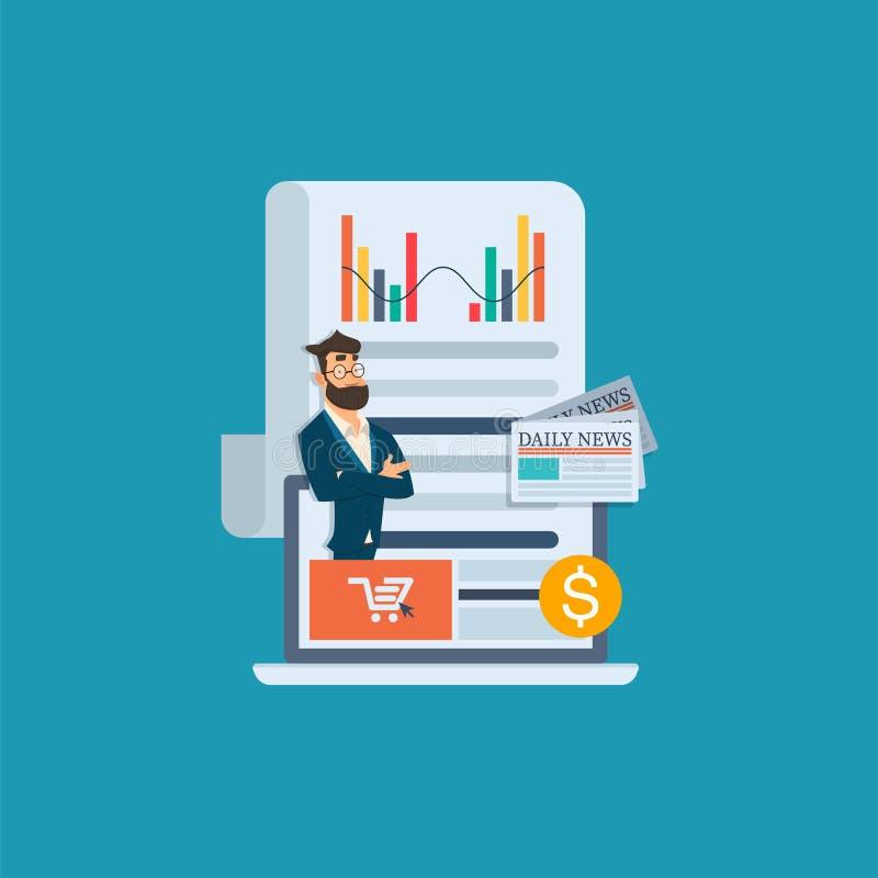 Lap-top με τον όμορφο επιχειρηματία influencer Εκμάθηση με τη webinar κατάρτιση Σε απευθείας σύνδεση εκπαίδευση στην τηλεοπτική έ ελεύθερη απεικόνιση δικαιώματος