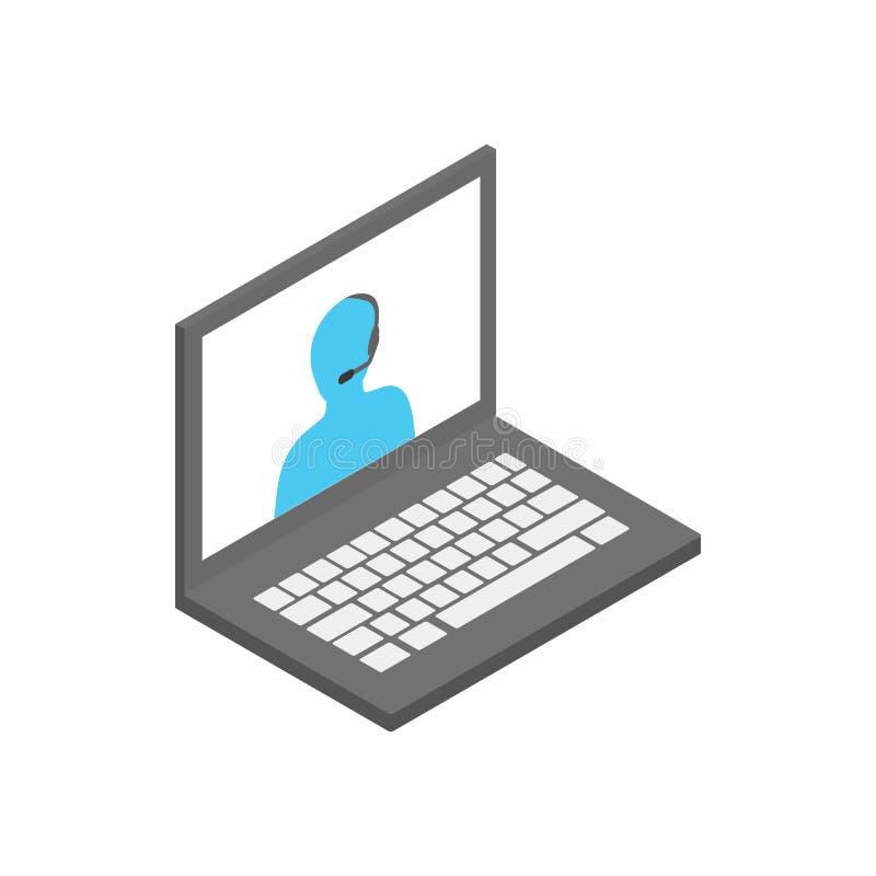 Lap-top με το εικονίδιο χειριστών υποστήριξης απεικόνιση αποθεμάτων