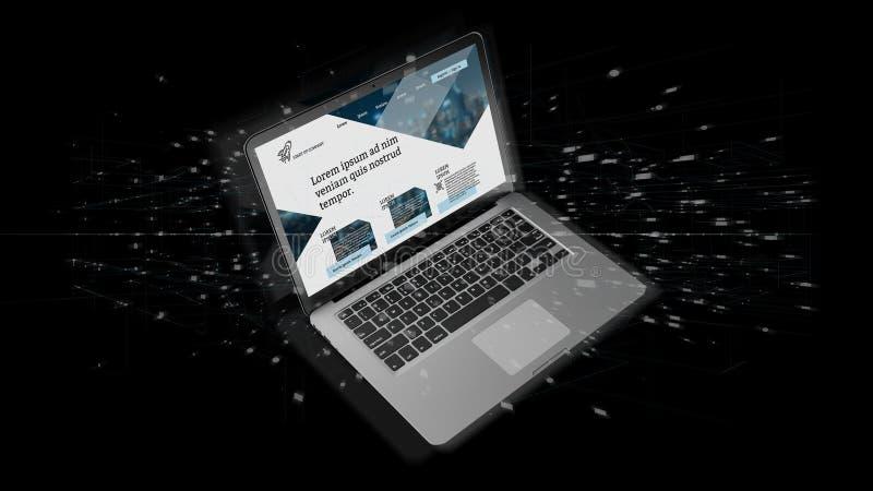Lap-top με το πρότυπο επιχειρησιακού ιστοχώρου στην οθόνη που απομονώνεται σε ένα υπόβαθρο στοκ εικόνες