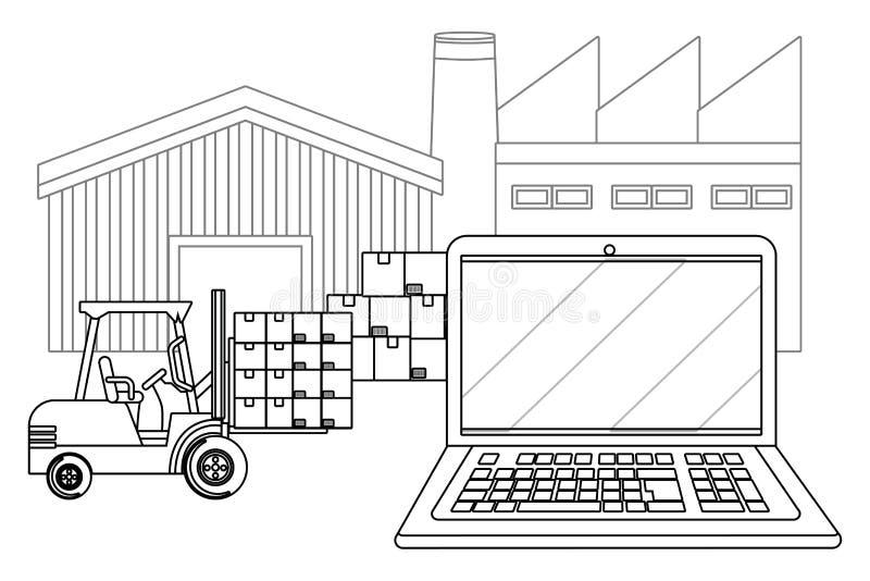 Lap-top με το φορτηγό ανελκυστήρων σε γραπτό ελεύθερη απεικόνιση δικαιώματος