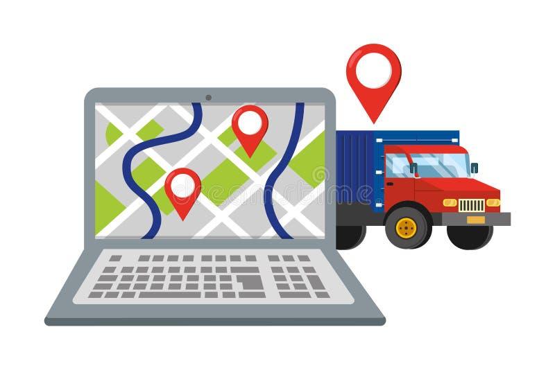 Lap-top με το φορτηγό ελεύθερη απεικόνιση δικαιώματος