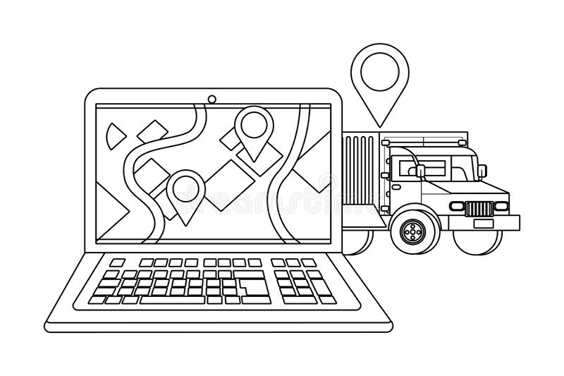 Lap-top με το φορτηγό σε γραπτό διανυσματική απεικόνιση