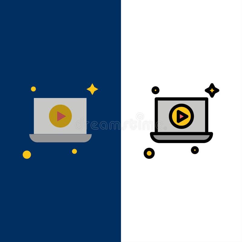 Lap-top, παιχνίδι, τηλεοπτικά εικονίδια Επίπεδος και γραμμή γέμισε το καθορισμένο διανυσματικό μπλε υπόβαθρο εικονιδίων ελεύθερη απεικόνιση δικαιώματος