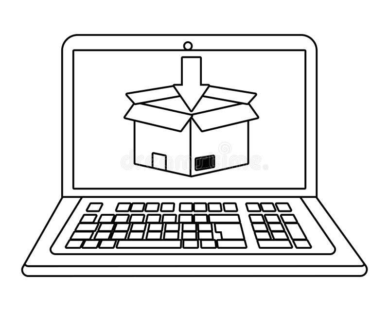 Lap-top που παρουσιάζει κιβώτιο σε γραπτό ελεύθερη απεικόνιση δικαιώματος