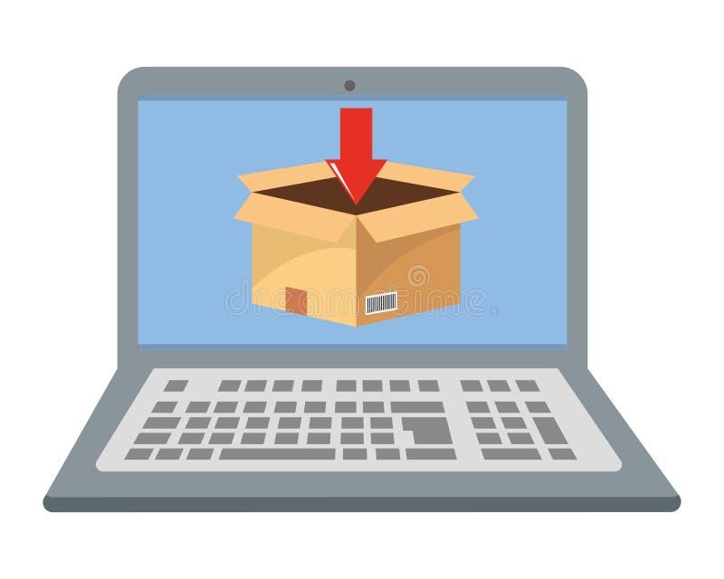 Lap-top που παρουσιάζει στο κιβώτιο διανυσματική απεικόνιση διανυσματική απεικόνιση